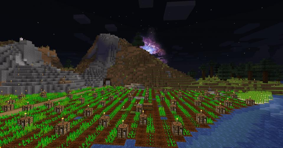Farm at Night in Minecraft