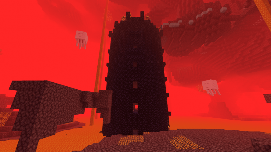 Obsidian Tower in the Nether - Minecraft