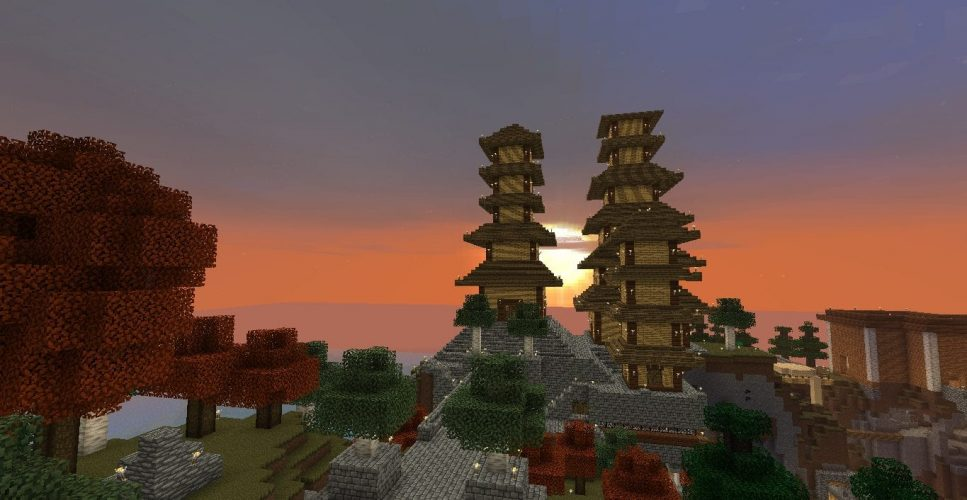 Pagodas at Sunrise - Minecraft