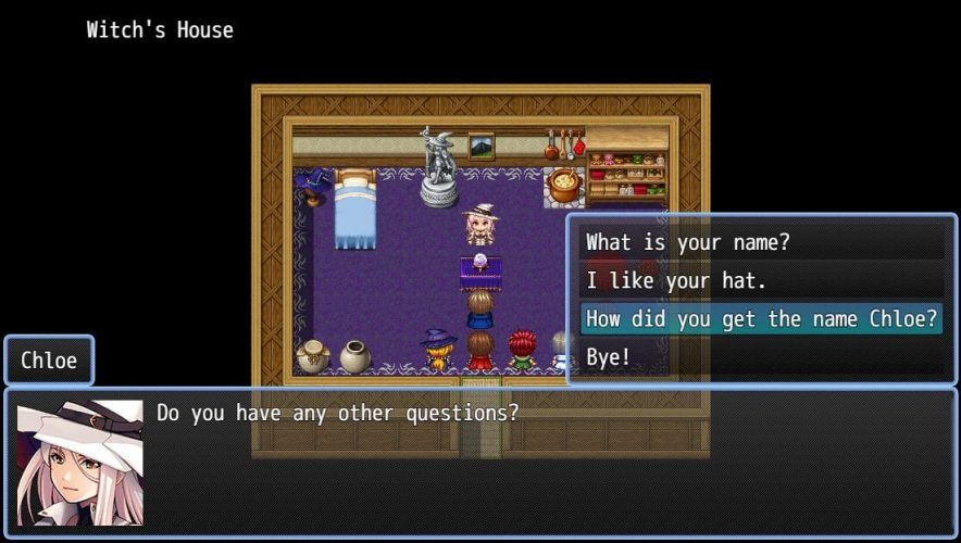 Using the Switchable Text Plugin, the character's name is shown only once the player learns the event's name. Also, once the event's name is known, a new dialogue choice appears!
